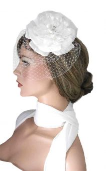 Fascinator Birdcage grosse Rose ivory %%%