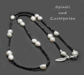 Top modische Longkette Zuchtperlen an Spinell