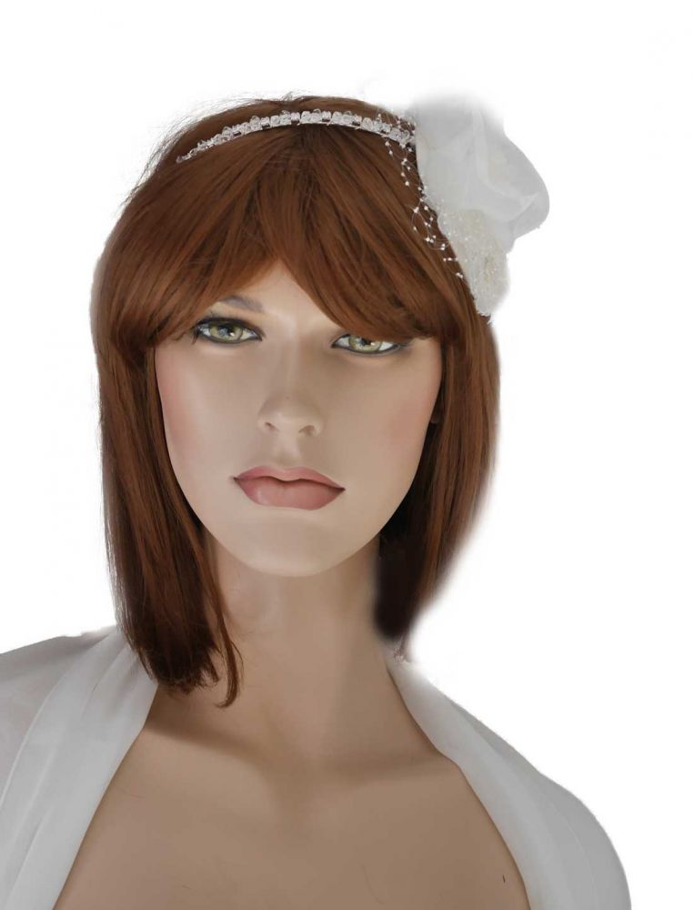 ivory haarschmuck spitze zur hochzeit fascinator. Black Bedroom Furniture Sets. Home Design Ideas