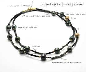 stylische Long Kette Tahitiperlen 585
